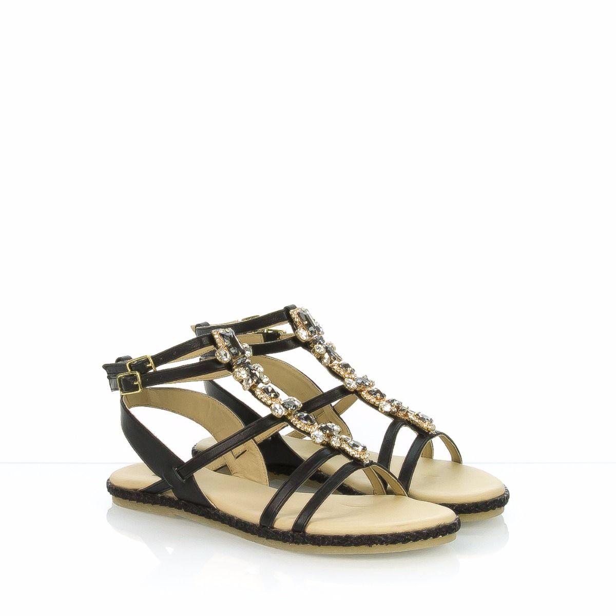 Nero Pietre 108426 Sandalo Donna Con Gioiello Stonefly OkuTPXZi