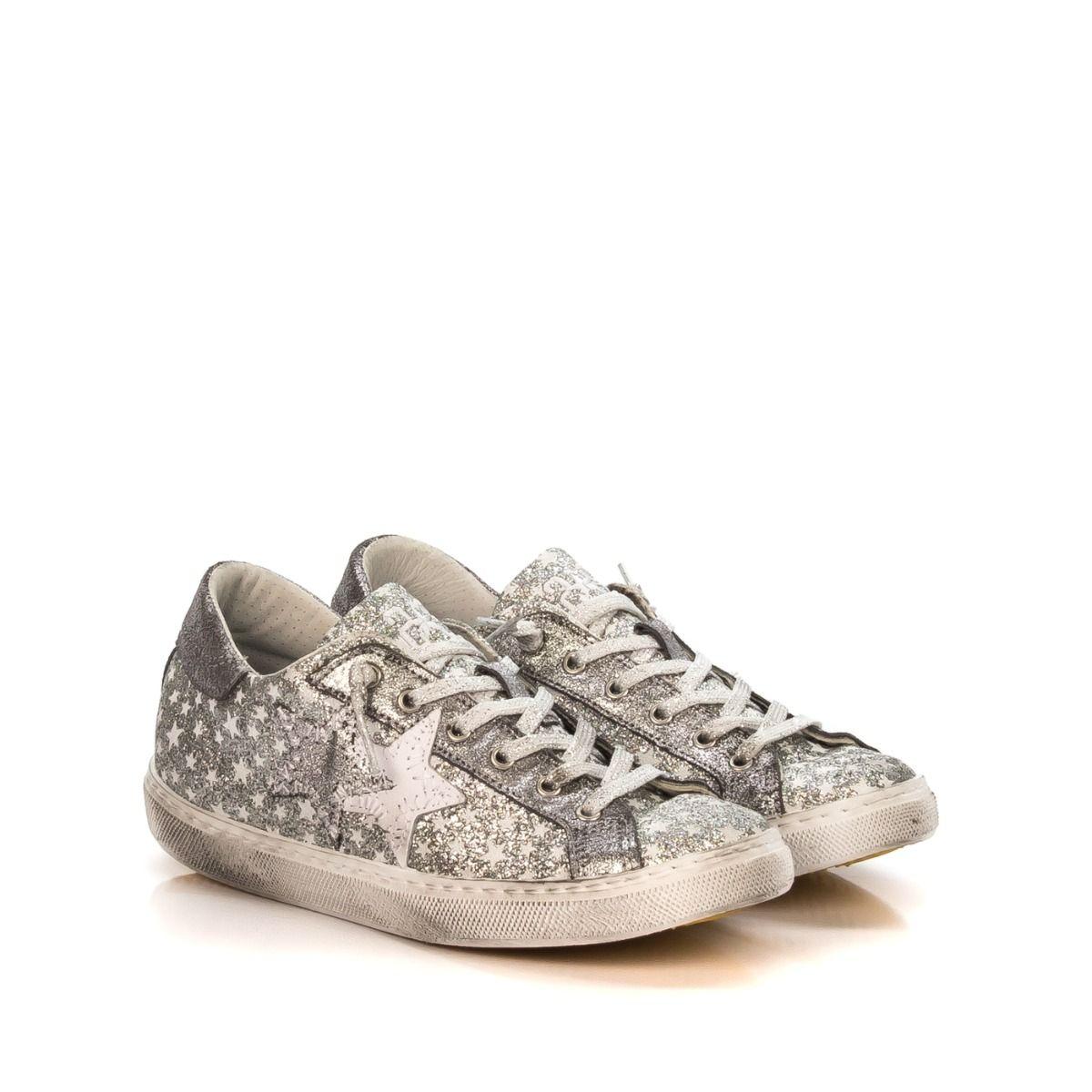 stelle 1147 glitter argento sneakers Gratuita spedizione 2star Donna ONwv8nm0