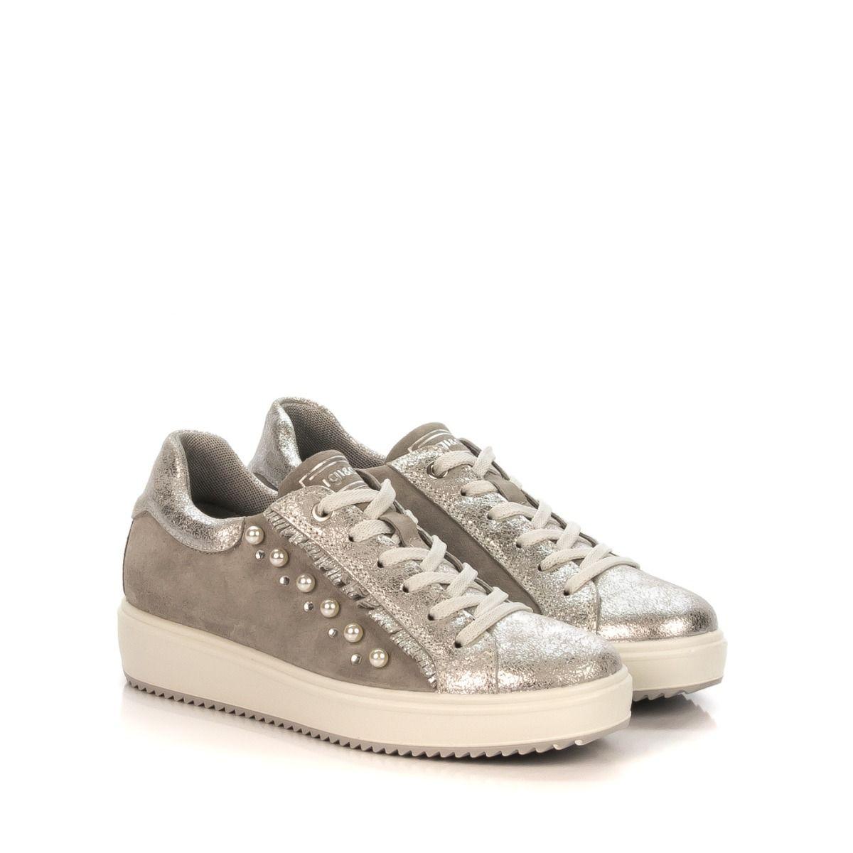 Sneakers da donna zeppa 11487-22 IGI CO pelle e camoscio grigio laminato con  perle  814d3146f18