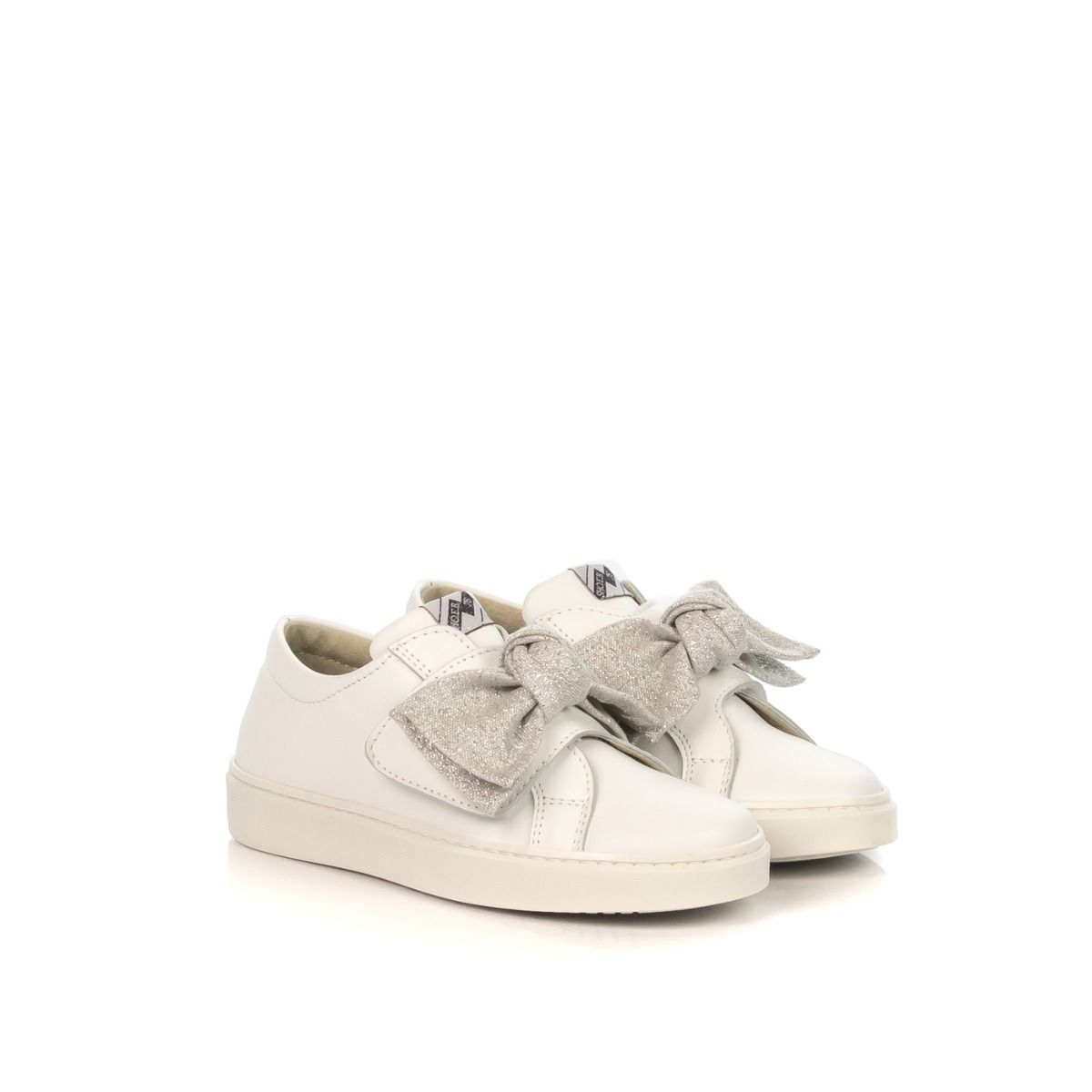 01af4d1095 E.B. SHOES SNEAKERS BAMBINA 1202-Z2 PELLE BIANCA FIOCCO