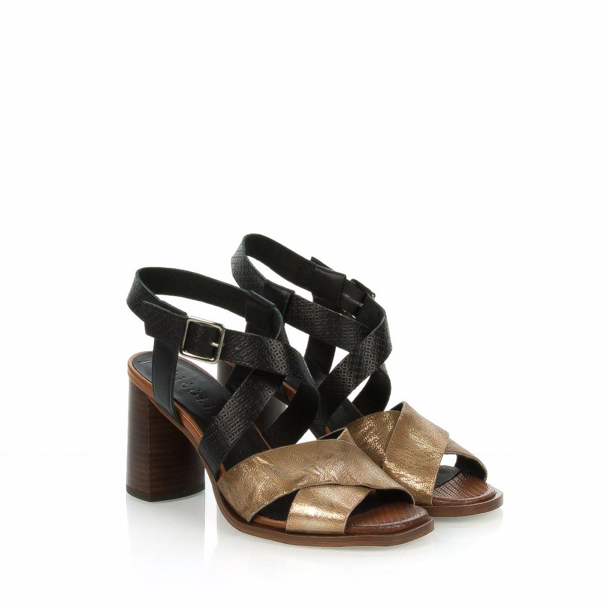 cfc1859693ff2 Sandalo da donna tacco alto FABBRICA DEI COLLI in pelle nera e laminata  bronzo