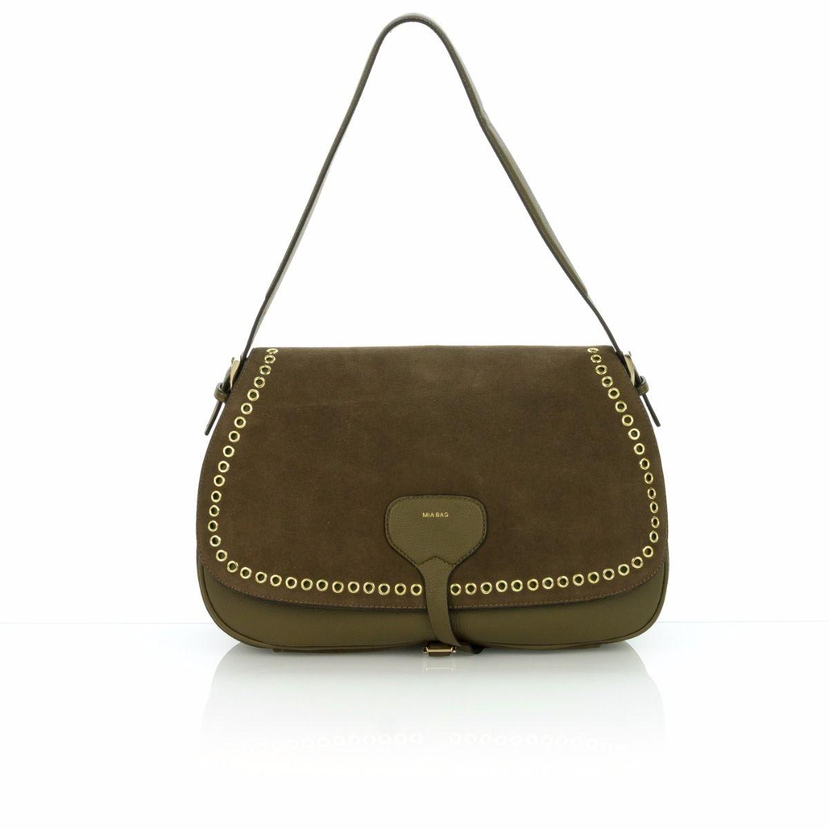 Borsa Center spedizione shoe Online Mia 17311 Bag camoscio Gratuita Militare Spalla verde shop Eyelet Maxi A Donna 1nt6Zan
