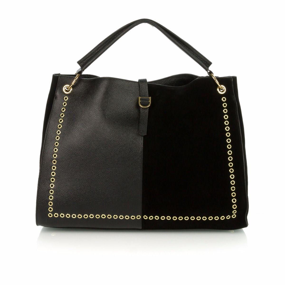 MIA BAG EYELET|shopping bag donna|17312|camoscio|pelle|nero