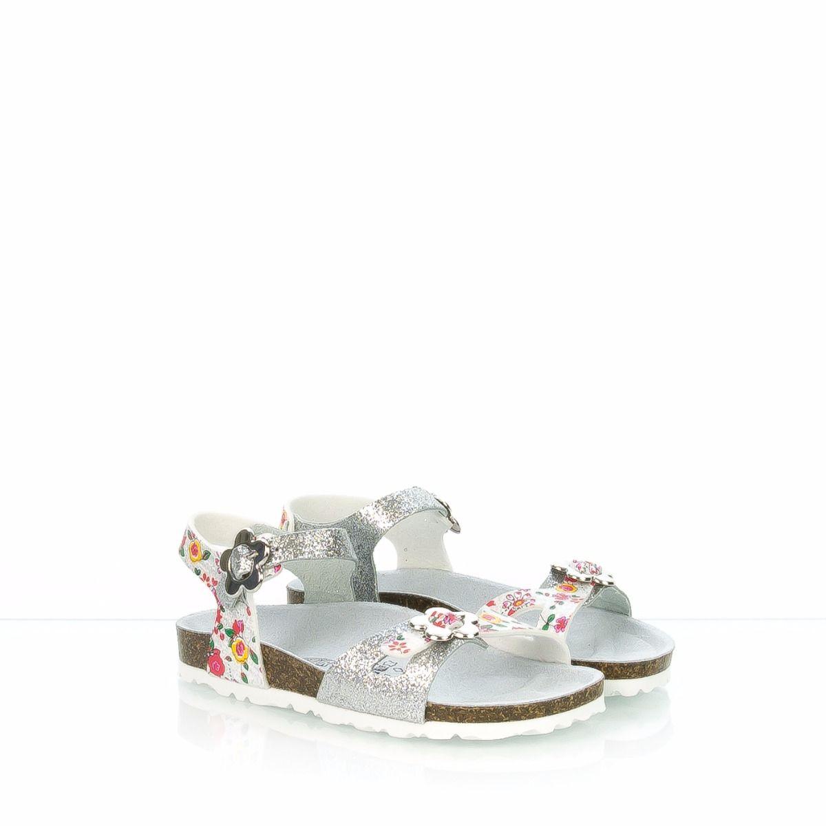 Sandalo da bambina GOLDSTAR argento glitter e fiori 52d4900f084