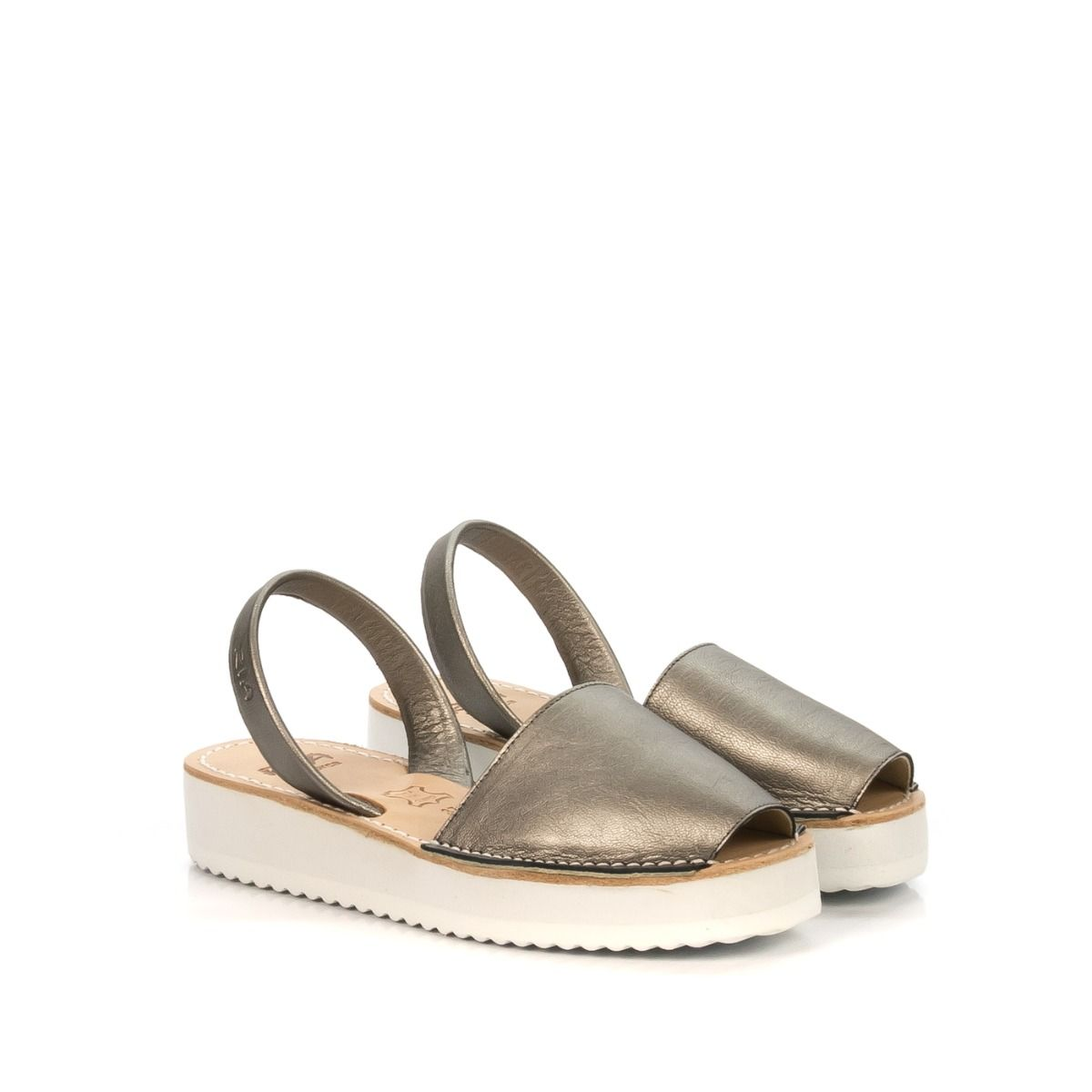 Sandalo donna RIA MENORCA 27300 con platform pelle acciaio laminato ... fecd69c8fb2