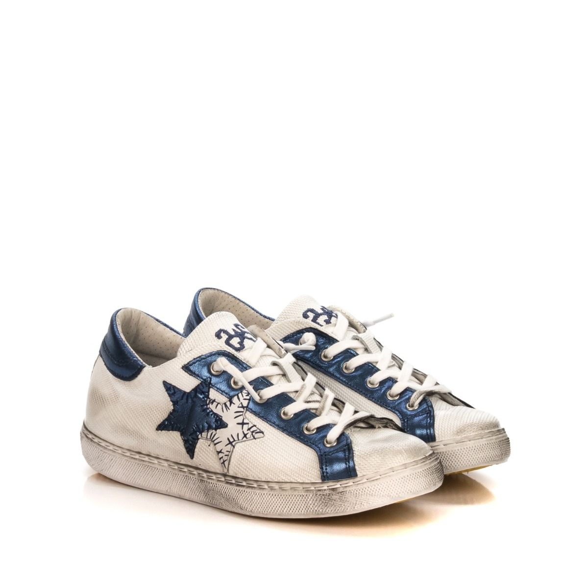 Sneakers da donna 2STAR 2SD1829 in pelle bianco e blu