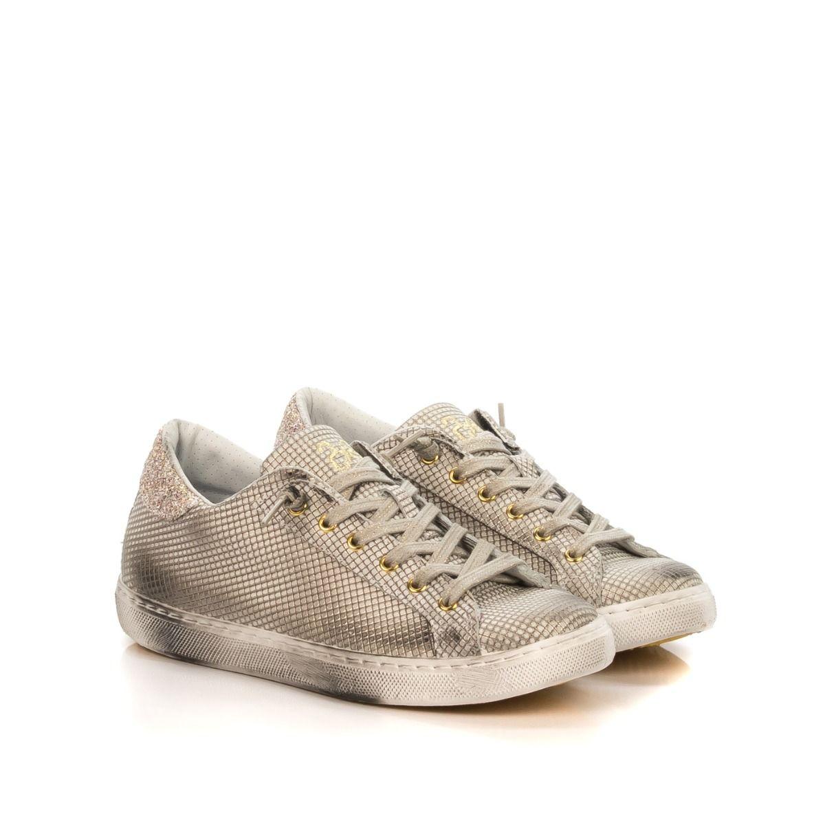 Glitter Stampata 2star Platino 2sd2220 In E Sneakers Donna Low Pelle vNm8n0wO