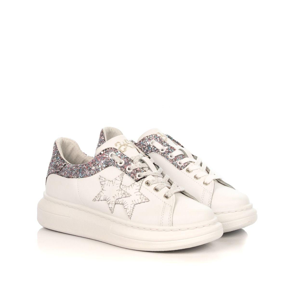Sneakers Donna Glitter 2star Bianco Platform 2sd2262 BdotrxshQC