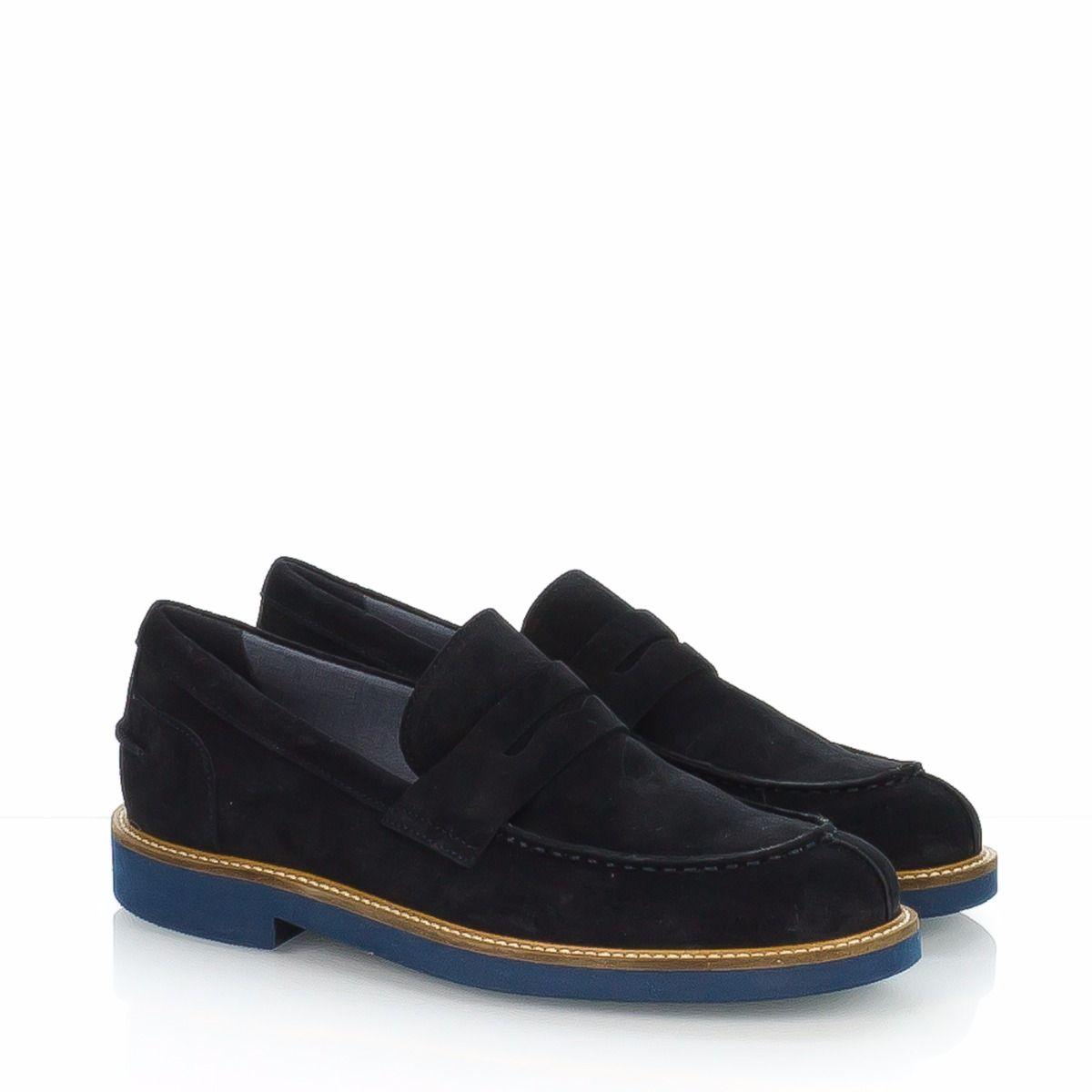 scarpe sportive scarpe sportive selezione migliore Mocassino uomo modello college in camoscio blu con suola azzurra ...