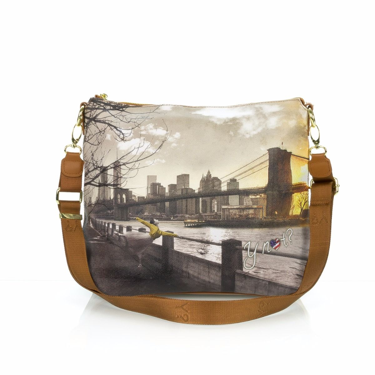 Y-NOT borsa a tracolla donna 391-FAME NEW YORK color cuoio ... 629cad7c78f
