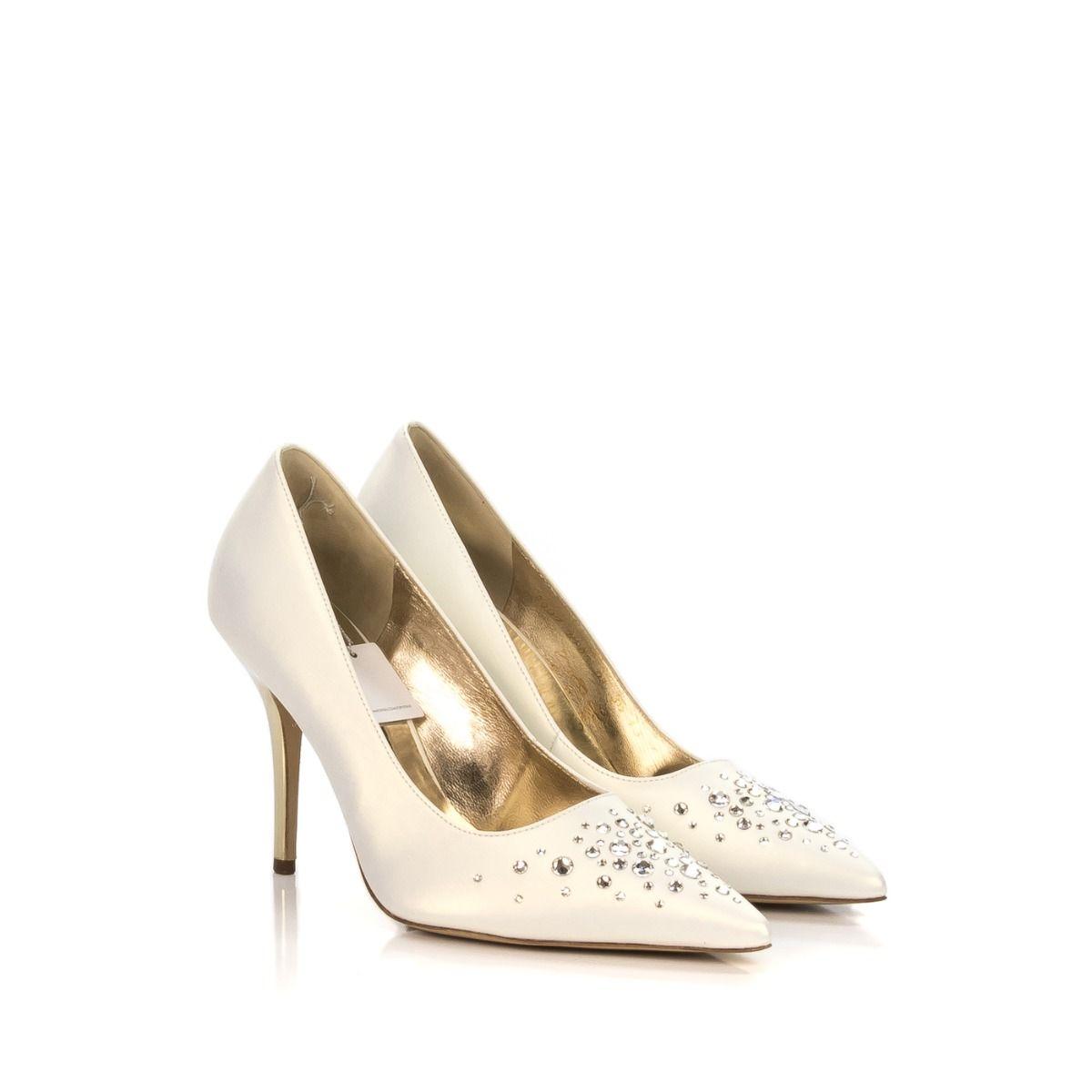 Scarpe Da Sposa Treviso.Decollete Da Donna Hogl 5109097 300 In Raso Bianco E Tacco Oro Con