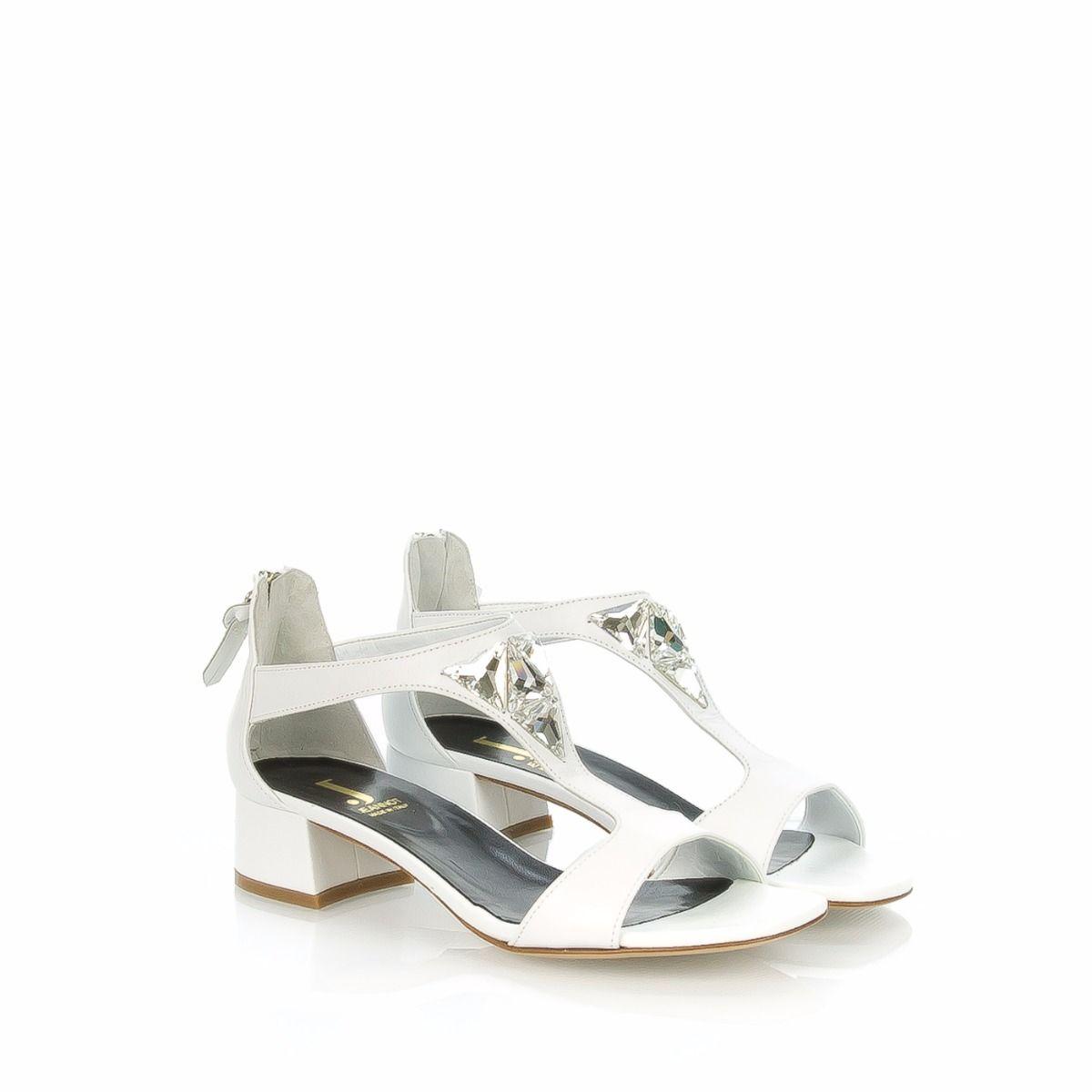 JEANNOT Sandalo donna beige bianco elegante con tacco medio