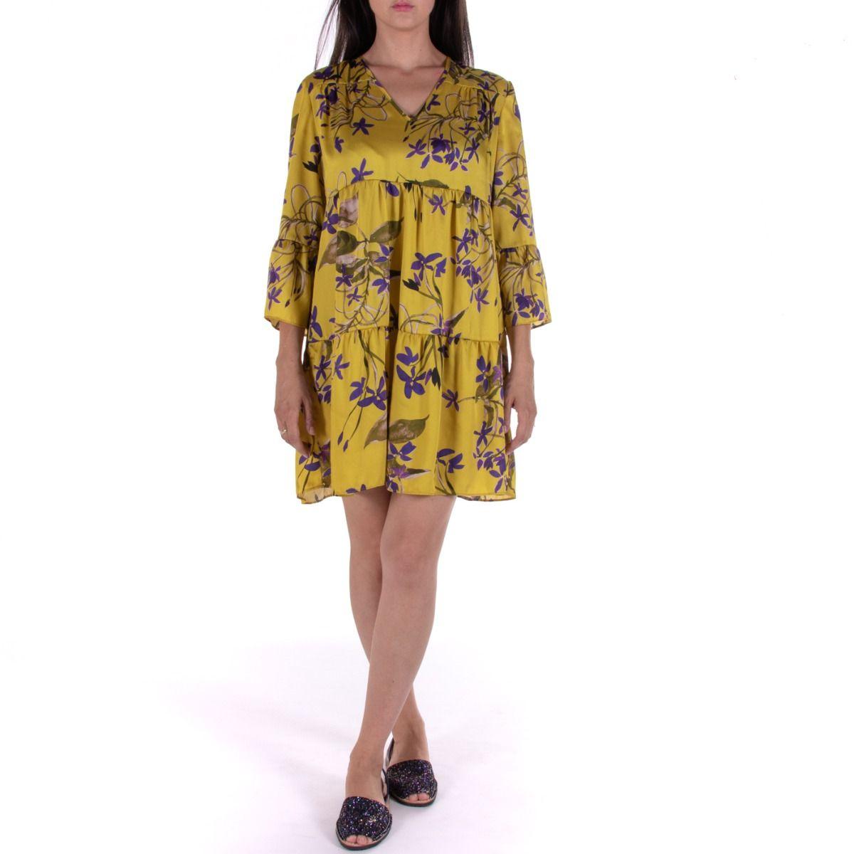 free shipping 4a090 b193b Vestito donna corto|OPERÀ 70690 ORCHIDEA giallo floreale ...