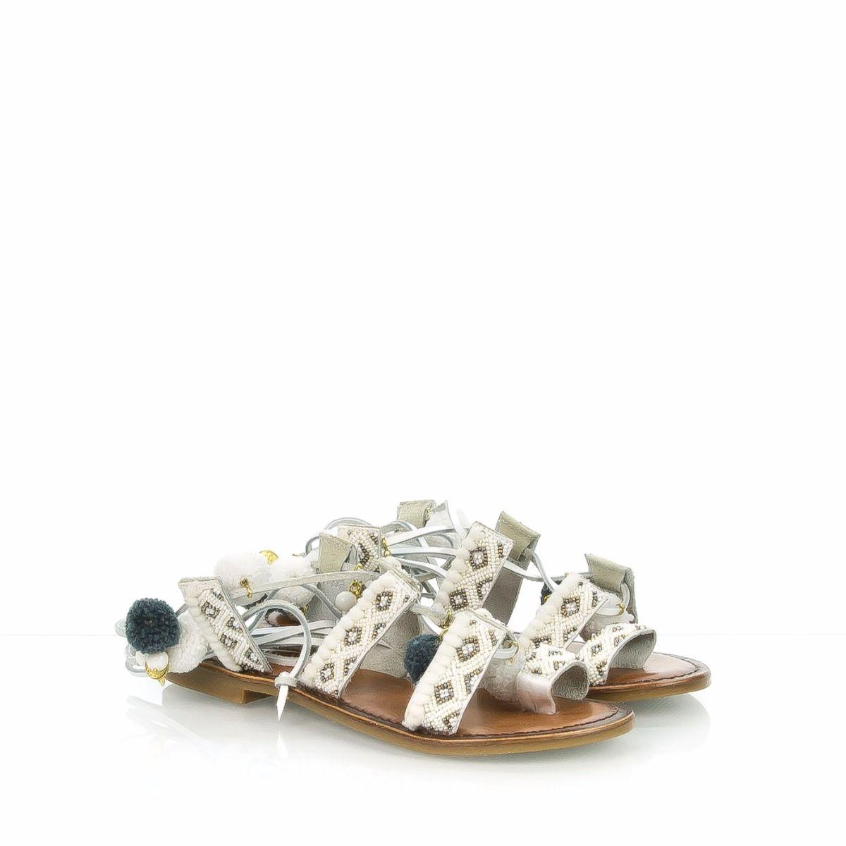 Bianco Inuovo 7166 Sandalo Ponpon Basso W9DHIE2
