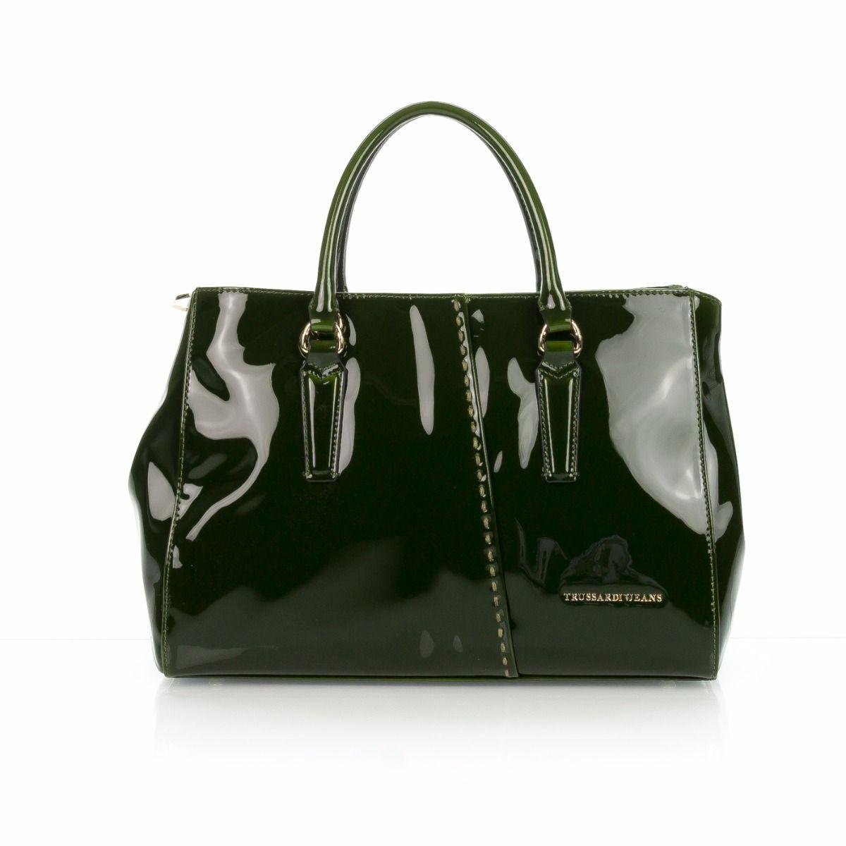 874e36f0b5bb77 Borsa a mano donna TRUSSARDI JEANS 75B00119 G150 LAYLA in vernice verde  |Spedizione gratuita|Shop online|Shoe Center
