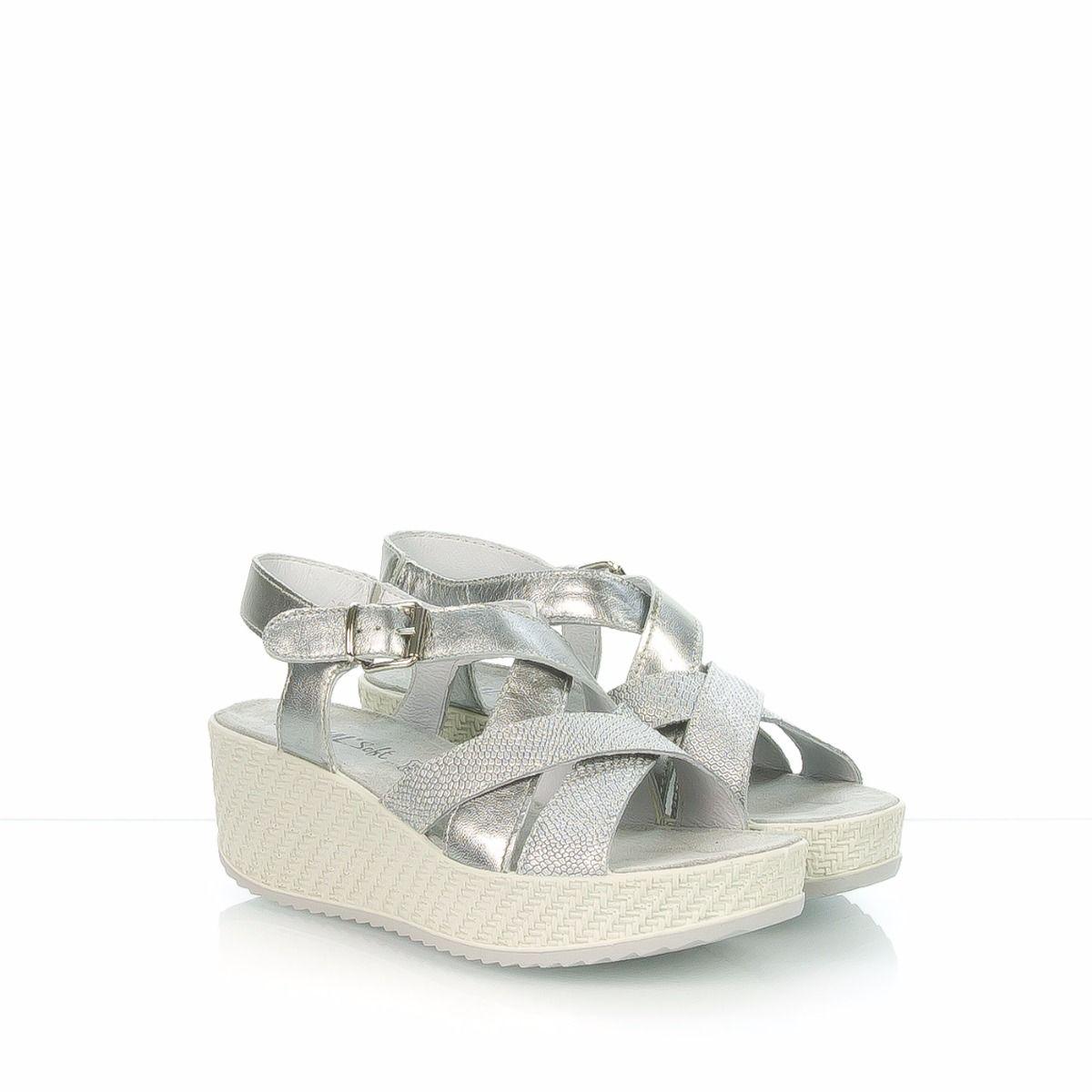Sandalo da donna con zeppa incrocio argento ENVAL SOFT 1a204ce3b9c