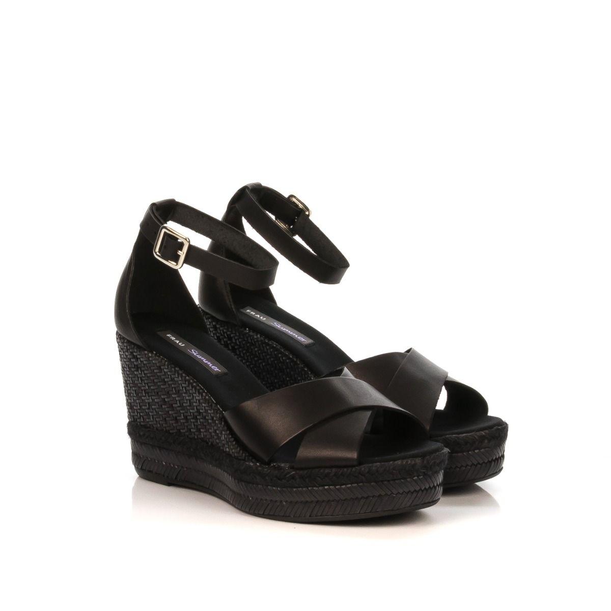 Sandalo donna con zeppa|FRAU 81L2|pelle nera|Spedizione