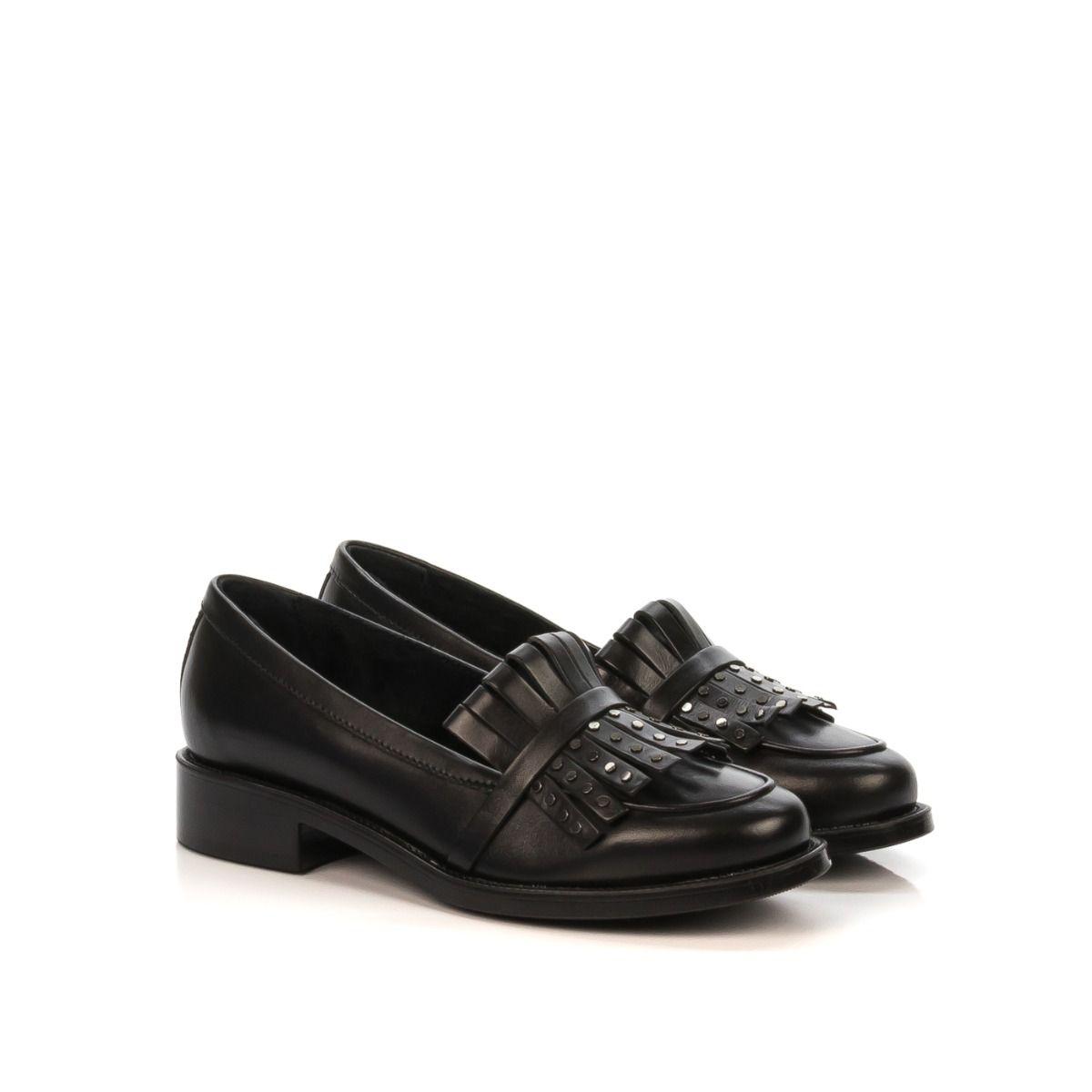 0e029be801 Mocassino donna FRAU 98R9 in pelle nera con borchie Spedizione  gratuita Shop online Shoe Center
