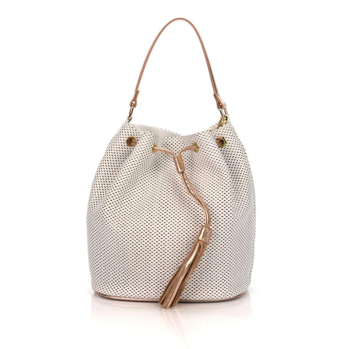 727fed690c Borsa a secchiello donna FRAU B204 in pelle bianca forata |Spedizione  gratuita|Shop online|Shoe Center