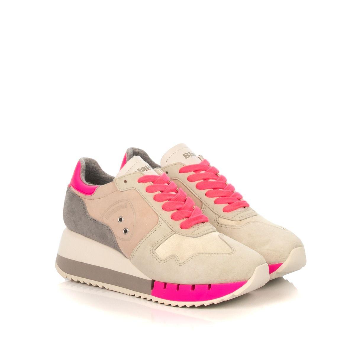 Sneakers donna zeppa|BLAUER CHARLOTTE 1 FLUO beige e fucsia
