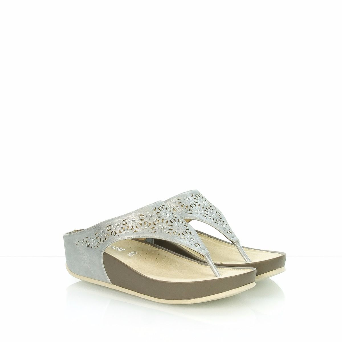 2a3a796006 Ciabatta da donna infradito color argento con brillantini GRÜNLAND ...