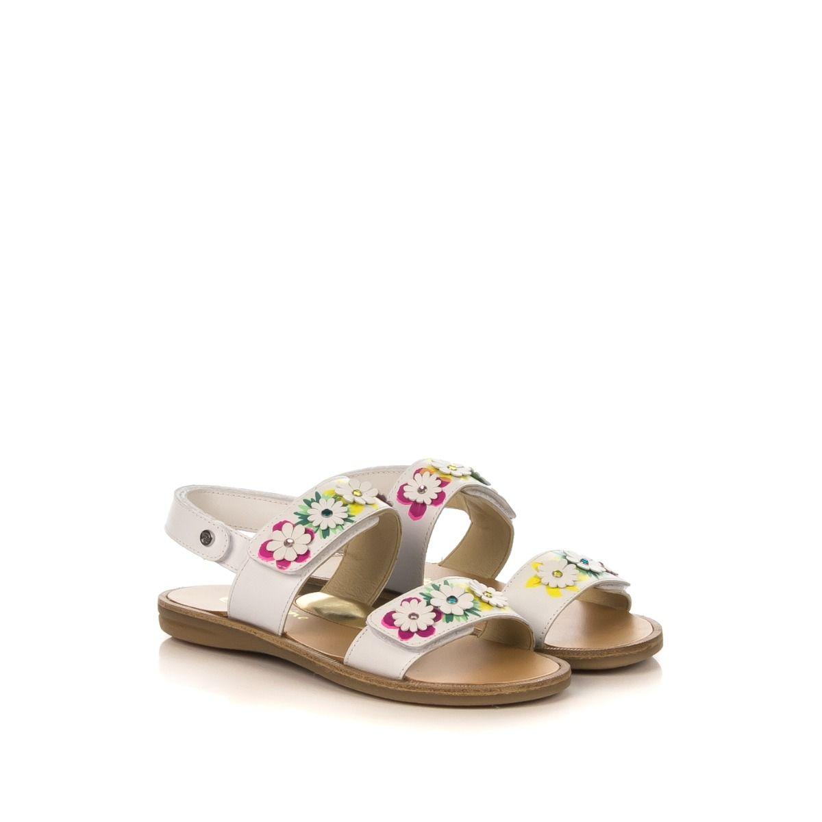 Bambina Naturino Bianco Con J3lfckt1 Sandalo 01 In Fiori Cristallo Pelle 8nw0kOPX