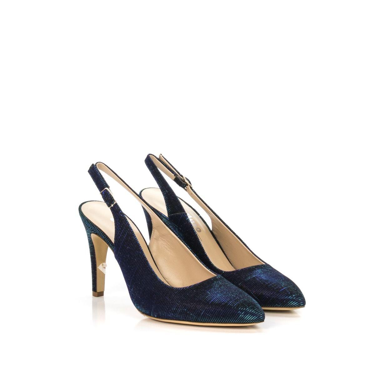enorme sconto enorme inventario vende Chanel donna MELLUSO D077E GALASSIA in tessuto lamé blu ...