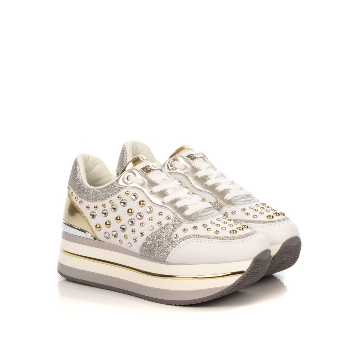 Sneakers donna|GUESS FL5HAM ELE12 similpelle bianco con