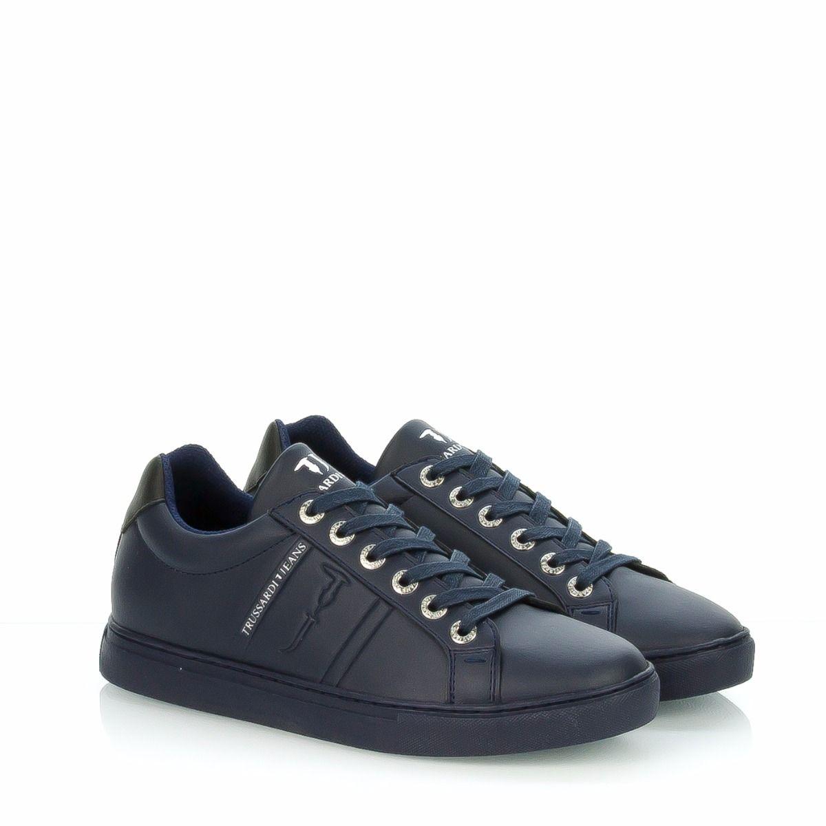 Sneakers bassa da uomo 77A00004 U699 TRUSSARDI JEANS in pelle blu ... 93460edbb67