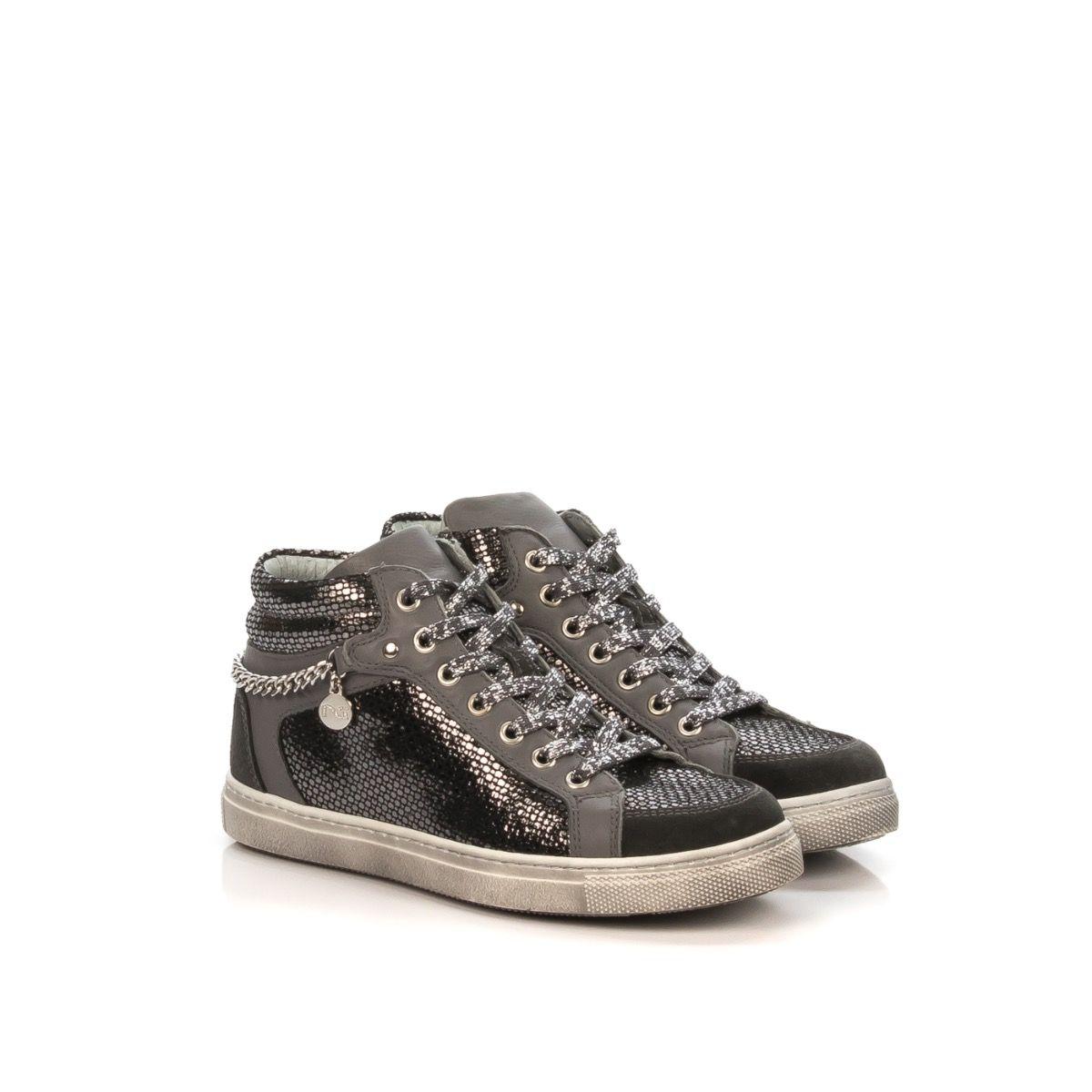 sports shoes 23da1 afc99 NERO GIARDINI 32490F 137 SNEAKER MID BAMBINA PELLE STAMPA ARGENTO RETTILE
