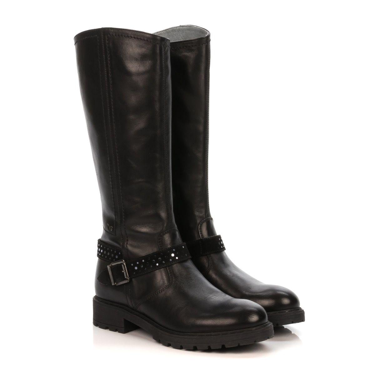 grande collezione moda di vendita caldo a piedi a NERO GIARDINI 632033 STIVALE BAMBINA PELLE NERO FIBBIA