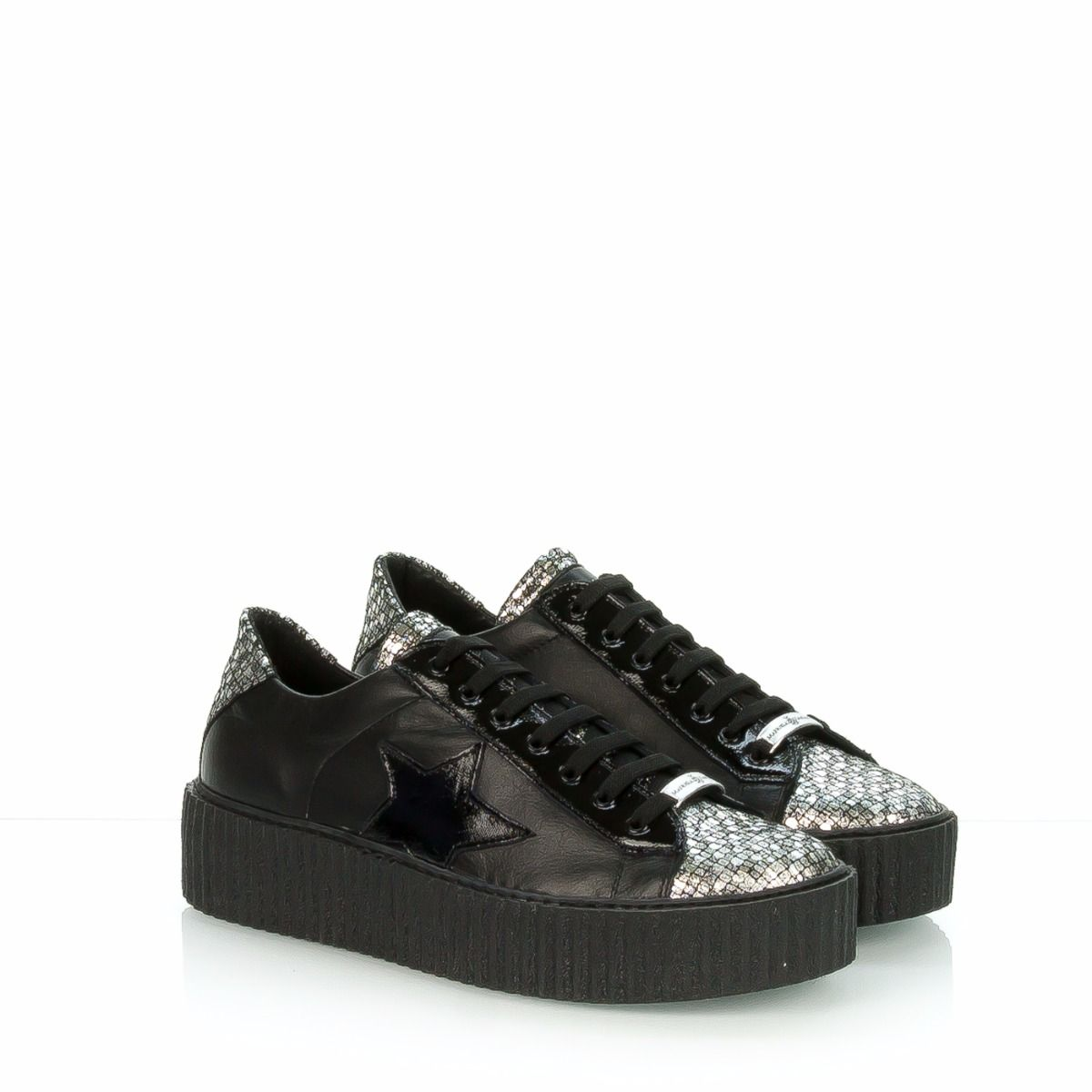 Dardozzi Sneakers In Con Donna Nera Pelle Puntale S42 Manuela Da trrqwSR