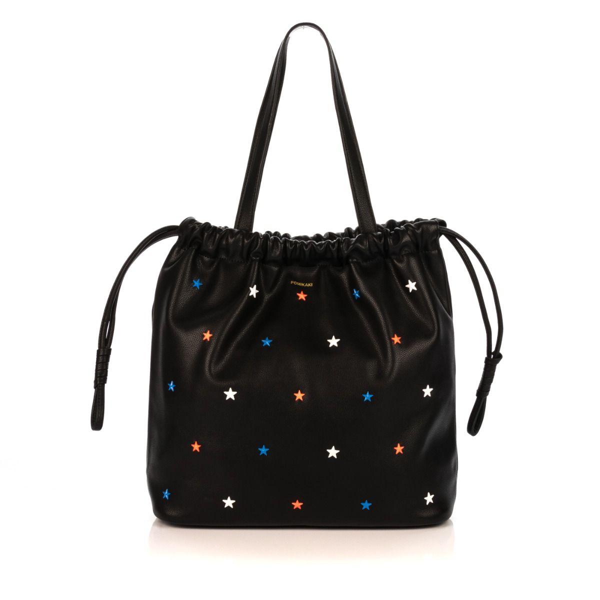72c747f0faa9fe Shopping bag donna POMIKAKI SI02 S01 SIRIA similpelle nero con stelle   Spedizione gratuita Shop online Shoe Center