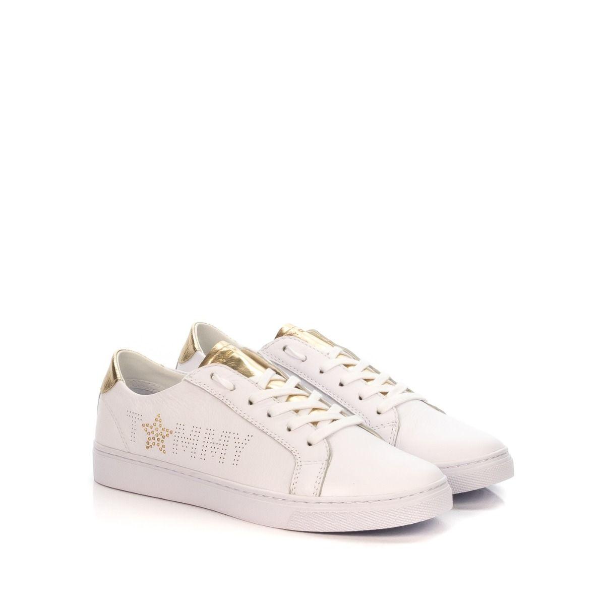 Sneakers donna TOMMY HILFIGER VENUS2349 902 in pelle bianco