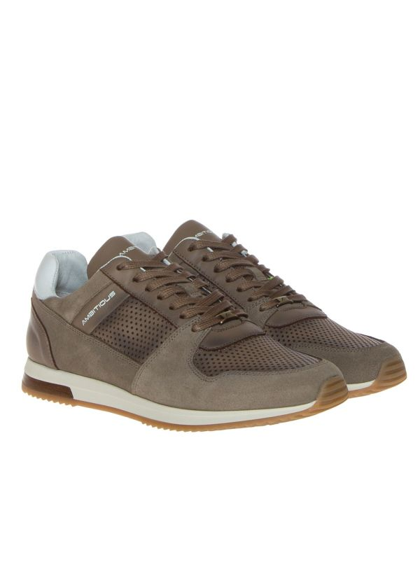 AMBITIOUS SNEAKERS UOMO 11240A-1426AM PELLE TAUPE FORATA