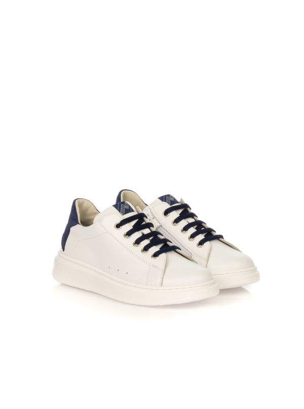 E.B. SHOES SNEAKERS UNISEX 1704 R6 BIANCO TALLONE BLU