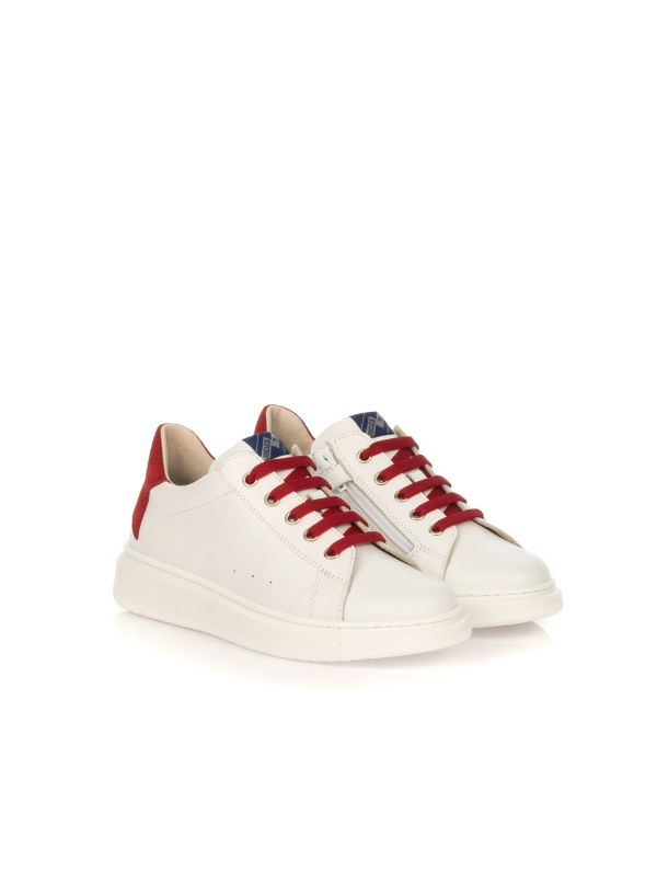 E.B. SHOES SNEAKERS UNISEX 1704 R7 BIANCO TALLONE ROSSO
