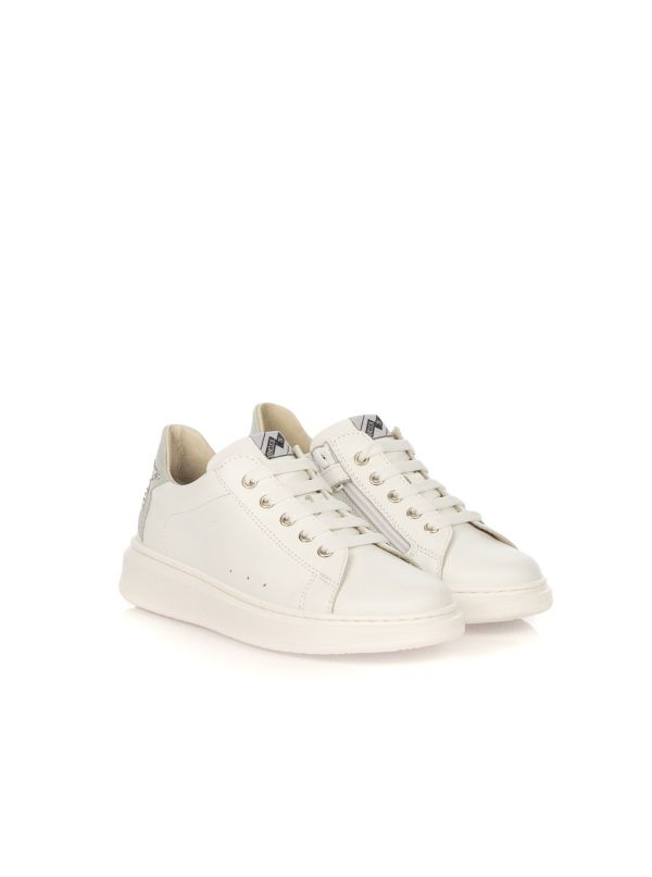 E.B. SHOES SNEAKERS BAMBINA 1710 S3 BIANCO TALLONE STELLA STRAS