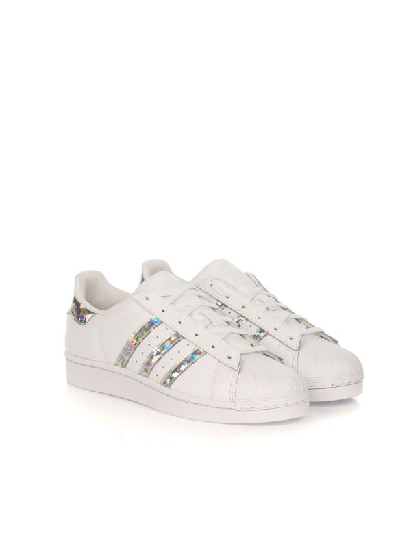 ADIDAS SNEAKERS BAMBINA SUPERSTAR J F33889 BIANCO-ARGENTO