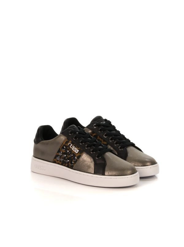 GUESS SNEAKERS DONNA FL7BRALEL12 PEWTE TAUPE LAMINATO ANIMALIER