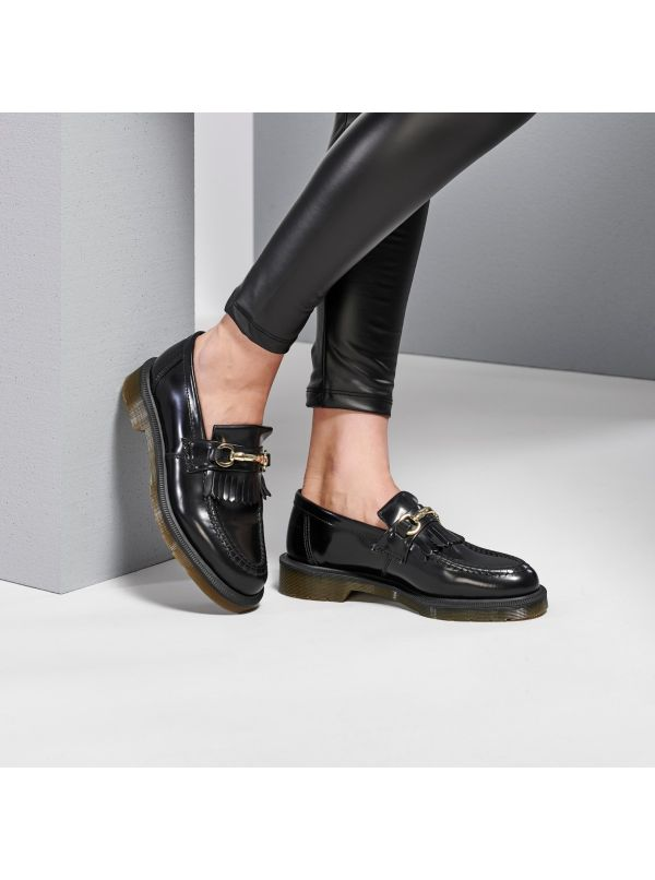 DR MARTENS MOCASSINO DONNA POLISHED SMOOTH ADRIAN PELLE NERO