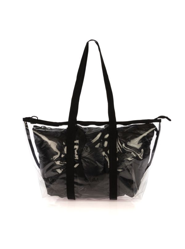 GUM BY GIANNI CHIARINI SHOPPING BAG DONNA SMALL-001 NERO-TRASPARENTE