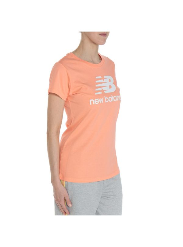 NEW BALANCE WT91546PPI ESSENTIALS STACKED LOGO T-SHIRT